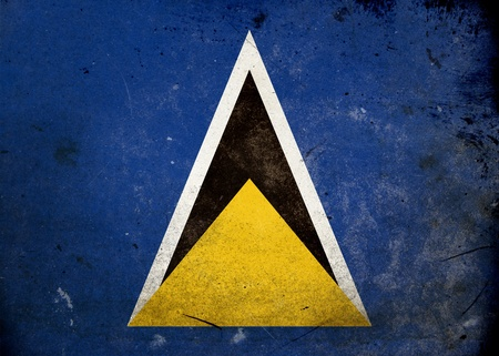 Flag of Saint Lucia on old and vintage grunge texture photo