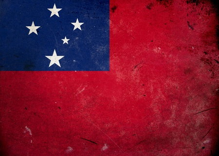 samoa: Flag of Samoa on old and vintage grunge texture Stock Photo