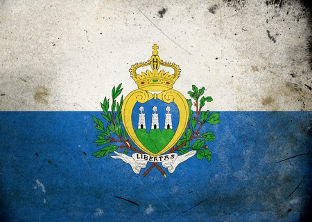 Flag of San Marino on old and vintage grunge texture photo