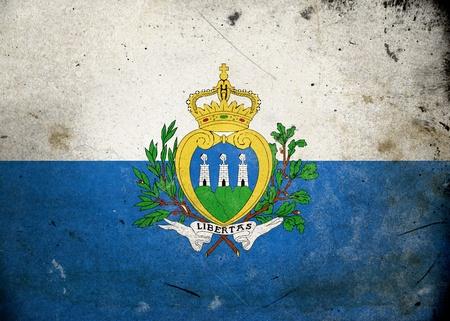 san marino: Flag of San Marino on old and vintage grunge texture