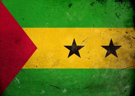 principe: Bandera de Santo Tomé y Príncipe sobre la textura del grunge de edad y de la vendimia