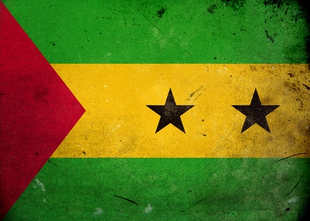 Flag of Sao Tome & Principe on old and vintage grunge texture photo