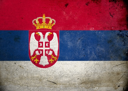 serbia: Flag on old and vintage grunge texture