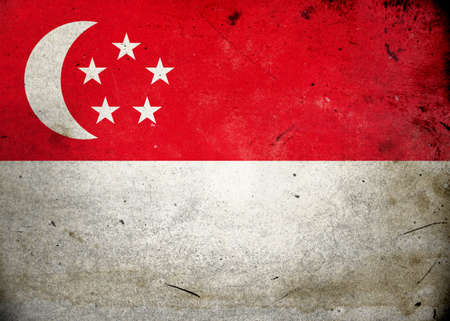 national border: Flag of Singapore on old and vintage grunge texture