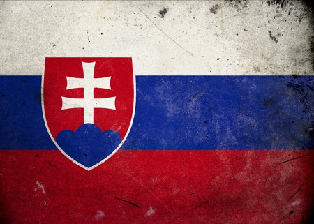 Flag of Slovakia on old and vintage grunge texture photo