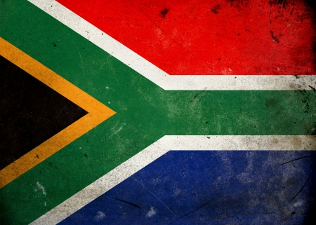 south african: Flag of South Africa on old and vintage grunge texture