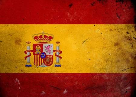 Flag of Spain on old and vintage grunge texture photo