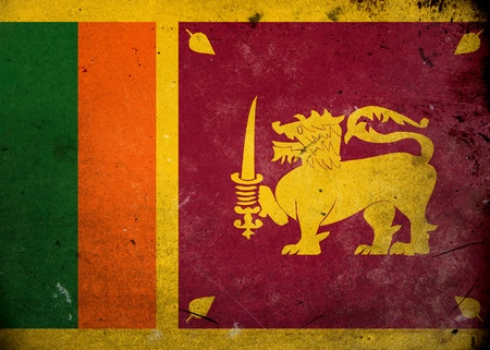 Flag of Sri Lanka on old and vintage grunge texture photo