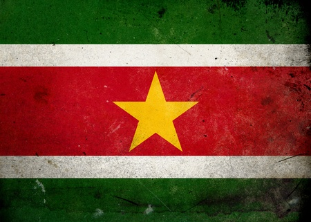 Flag of Suriname on old and vintage grunge texture photo