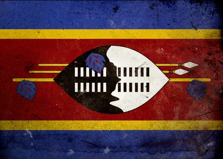 africa antique: Flag of Swaziland on old and vintage grunge texture Stock Photo