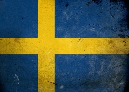 Flag of Sweden on old and vintage grunge texture photo