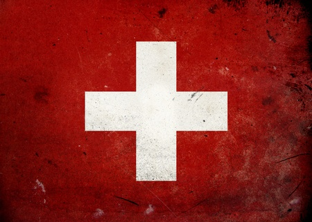 swiss insignia: Flag of Swtizerland on old and vintage grunge texture Stock Photo
