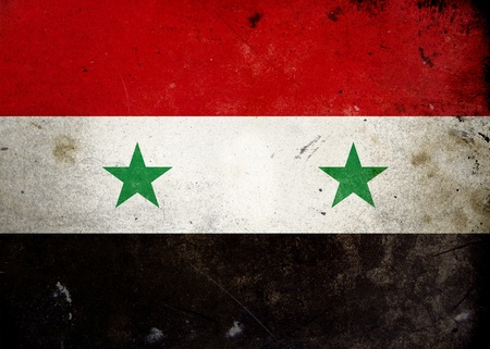 syrian war: Flag of Syria on old and vintage grunge texture