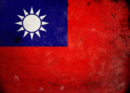 Flag of Taiwan on old and vintage grunge texture photo