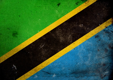 Flag of Tanzania on old and vintage grunge texture photo