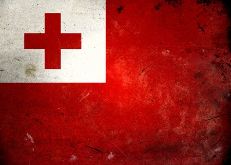 Flag of Tonga on old and vintage grunge texture photo