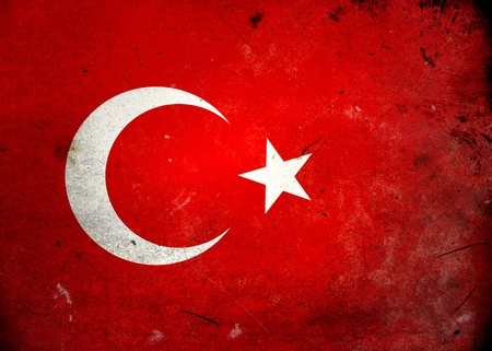 Flag of Turkey on old and vintage grunge texture photo
