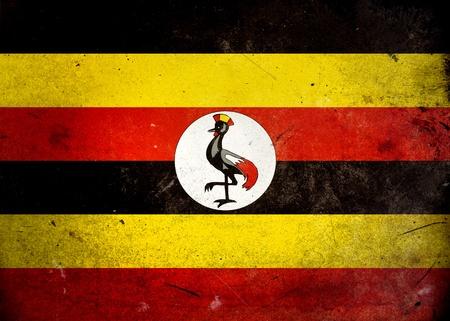 uganda: Flag of Uganda on old and vintage grunge texture