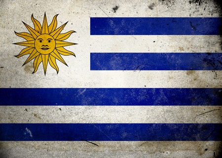 Flag of Uruguay on old and vintage grunge texture Stock Photo - 12036999