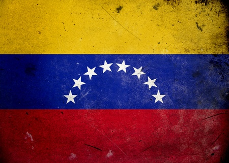 mapa de venezuela: Bandera de Venezuela en la textura del grunge de edad y de la vendimia Foto de archivo