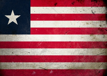 Flag of Liberia on old and vintage grunge texture photo