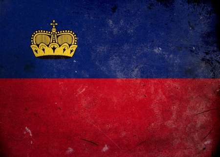 Flag of Liechtenstein on old and vintage grunge texture photo