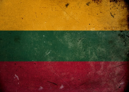 lithuanian: Flag of Lithuania on old and vintage grunge texture