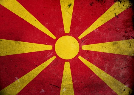 Flag of Macedonia on old and vintage grunge texture photo