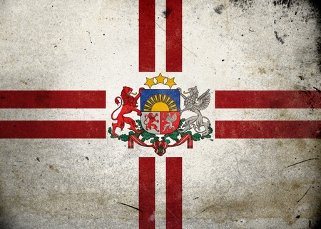 Presidential Flag of Latvia on old and vintage grunge texture photo