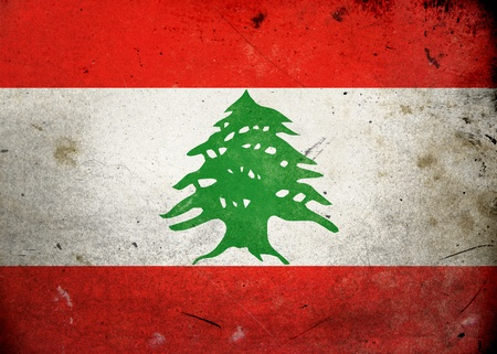 Flag of Lebanon on old and vintage grunge texture photo