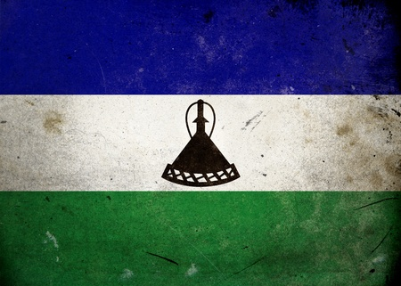 lesotho: Flag of Lesotho on old and vintage grunge texture