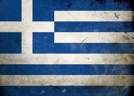 The flag of Greece on old and vintage grunge texture photo