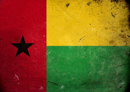 guinea bissau: The flag of Guinea Bissau on old and vintage grunge texture