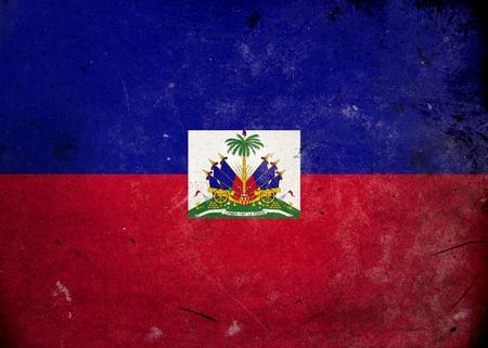 haiti: The flag of Haiti on old and vintage grunge texture