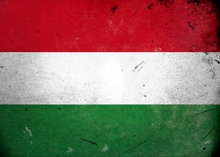 hungary: The flag of Hungary on old and vintage grunge texture