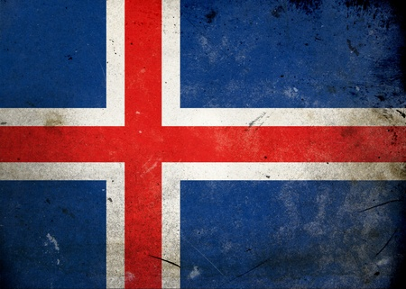 The flag of Iceland on old and vintage grunge texture photo