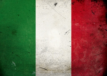 The flag of Italy on old and vintage grunge texture photo