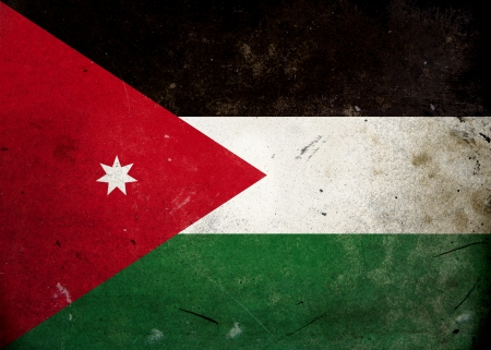 arab flags: The flag of Jordan on old and vintage grunge texture