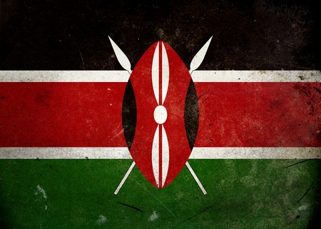 The flag of Kenya on old and vintage grunge texture photo