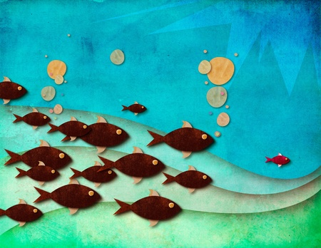 A colorful textured illustration of a leading fish and its followers under beautiful blue waters, leadership concept illustration