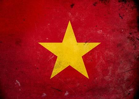 nam: Flag of Vietnam on old and vintage grunge texture