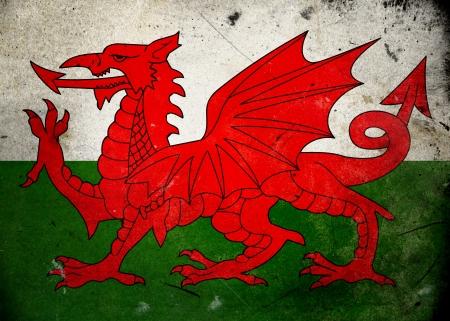 welsh flag: Bandiera del Galles texture grunge vecchio e vintage Archivio Fotografico