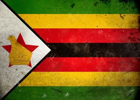 zimbabwe: Bandera de Zimbabwe en la textura del grunge de edad y de la vendimia Foto de archivo