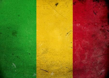 landlocked: Flag of Mali on old and vintage grunge texture
