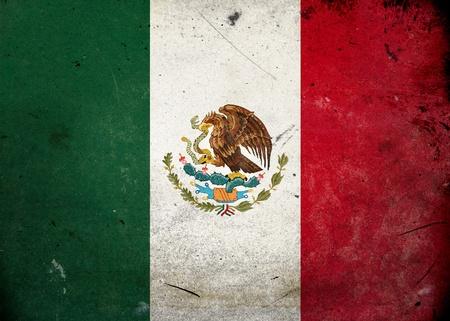 bandera mexicana: Bandera de M�xico en la textura del grunge de edad y de la vendimia Foto de archivo