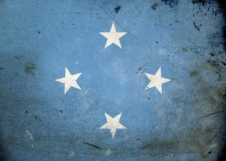 micronesia: Flag of Micronesia on old and vintage grunge texture