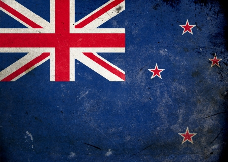 Flag New Zealand on old and vintage grunge texture photo