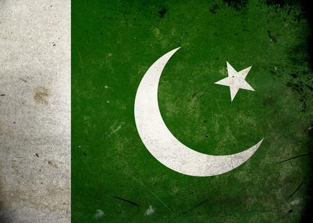 파키스탄: 오래된 빈티지 그런 지 질감에 파키스탄의 국기 스톡 사진