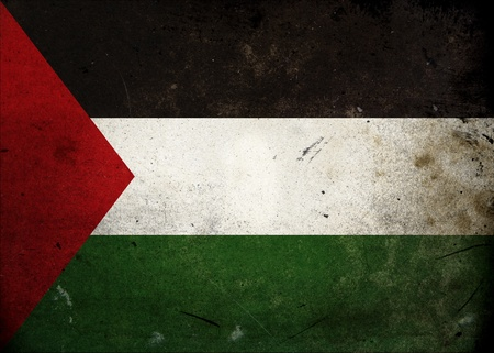 Flag of Palestine on old and vintage grunge texture photo