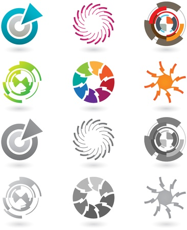 technological: A set of modern and futuristic icons with full color and grayscale versions